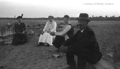Unidentified Group Sitting at the Beach, c.1915