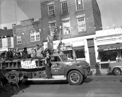 Whitby Stokers Baseball Team Victory Parade, October 10, 1955