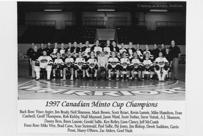 """Whitby Warriors Junior """"A"""" Lacrosse Team, 1997"""