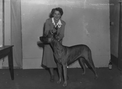 Betty Hyslop and Dog, September 2, 1949