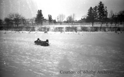 Bill Irwin and Friend Sledding, January 1938