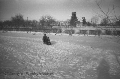 Bill Irwin and Friends Sledding, January 1938