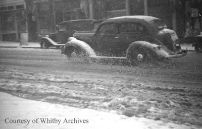 Dundas Street West in Snow, April 8, 1938