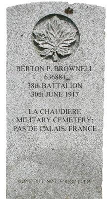 Gravestone for Berton P. Brownell