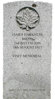 Gravestone for James Harkness