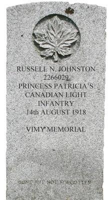Gravestone for Russell N. Johnston