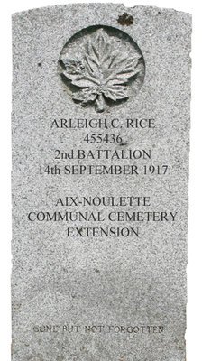 Gravestone for Arleigh C. Rice