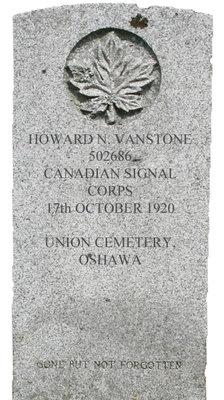 Gravestone for Howard N. Vanstone