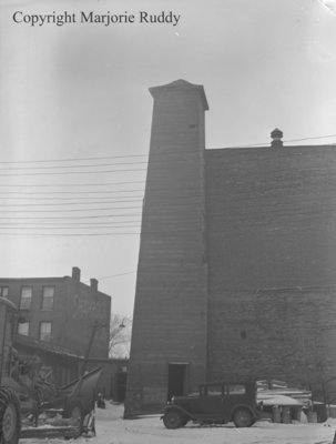 Bell towers behind old Whitby Town Hall, March 7, 1948