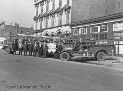 Whitby Fire Department Members with Fire Engines, October 4, 1947