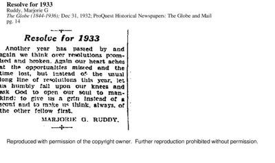 Resolve for 1933, The Globe, December 31, 1932