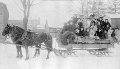 Students on Sleigh at Ontario Ladies' College, c.1897