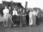 Group Portrait of Members of the Whit-Knit Club with Lawn Mowers, c.1943