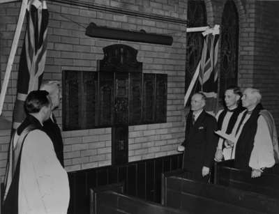 Dedication of Honour Roll from First and Second World Wars at All Saints' Anglican Church, November 12, 1947