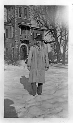 Louis Rousseau standing in front of Dr. Warren's Former Residence, c.1940-1944