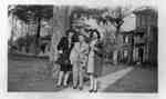 Rousseau Children in front of their home (former home of Dr. Warren), c.1940-1944