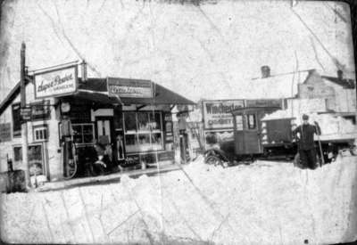 Frank Foley's store and gas station, 1929