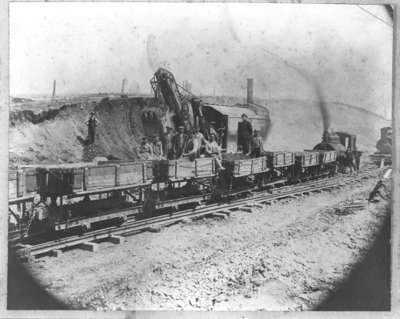 Construction of Harris Cut, Canadian Pacific Railway, 1913