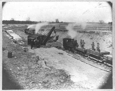 Construction of Harris Cut, Canadian Pacific Railway, 1913.