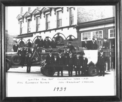Members of Whitby Fire Department with Firetrucks