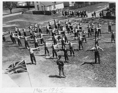 Whitby Collegiate Institute Calisthenics Class, 1945