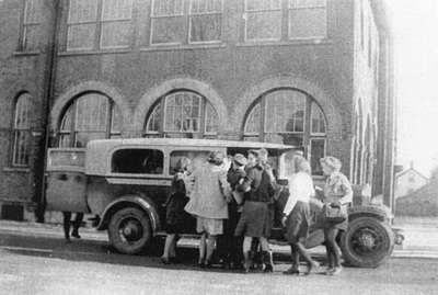 Whitby Collegiate Institute Bus with Students, c.1942