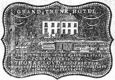 Advertisement for Grand Trunk Hotel
