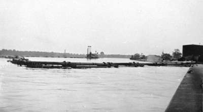Dredging Pipes at Whitby Harbour, c.1938