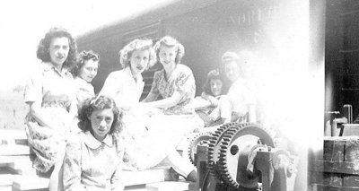 Hilda and Eileen Barnett with Co-Workers at Brunton Lumber Co., 1945. Photograph courtesy of Valerie Gierman.