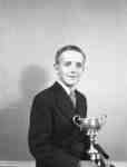Charles Ruddy with trophy cup, June 1948