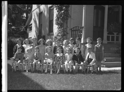 Dorothy Donald and preschool class (Image 1 of 3), 1946