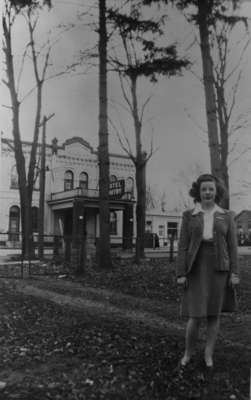 Marcella Rousseau standing in front of Whitby Hotel