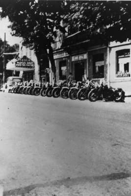 Motorcycles Parked in front of Royal Hotel