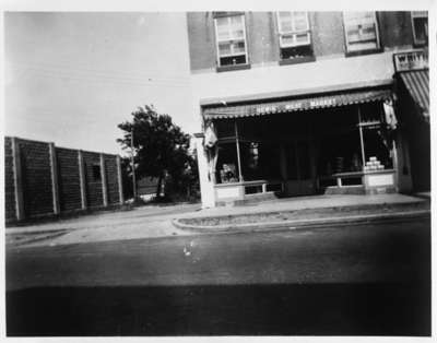 Hewis Meat Market and Vacant Lot, 1937