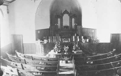 Interior of Brooklin Baptist Church, c.1909