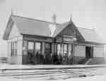Several men standing in front of Brooklin Railway Station