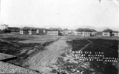 Recreation Hall and Cottages looking west from roof of Power House, Military Convalescent Hospital, 1917