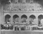People gathered in front of Frances Hall at the Ontario Ladies' College, May 25, 1903