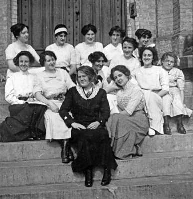 Group of Students on the steps of Ontario Ladies' College, May 1912