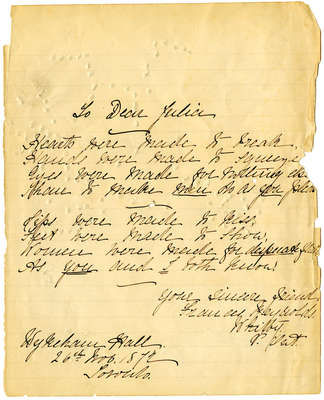 Letter to Julia from Frances de Saullus Reynolds, November 26, 1872