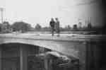 Mary Helen Steffler and Bernadette Marie Steffler standing on Brock Street Bridge over 401, September 28, 1941