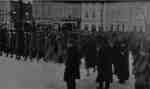 Soldiers of the 116th (Ontario County) Battalion marching along Dundas Street at Brock Street, 1916