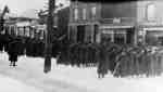 Soldiers of the 116th (Ontario County) Battalion marching along Dundas Street, 1916
