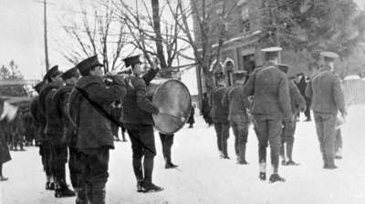 116th Battalion Band at flag raising ceremony, Armouries, 1916