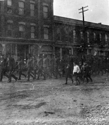 Soldiers in a Parade on Brock Street, 1915