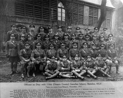 Officers of the 116th Battalion at Pernes, December 1917