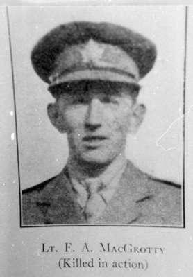 Portrait Photograph of Lieutenant Frank A. MacGrotty, c.1917