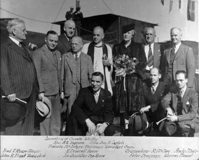 Official Party at Launching of Corvette H.M.C.S. Whitby, 1943