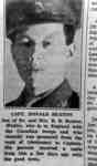 Portrait Photo of Newspaper Clipping with News of Capt. Donald Beaton