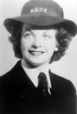 Alma Carter wearing a H.M.C.S. hat